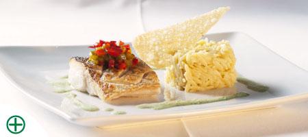 Croustillant de merlu et son risotto