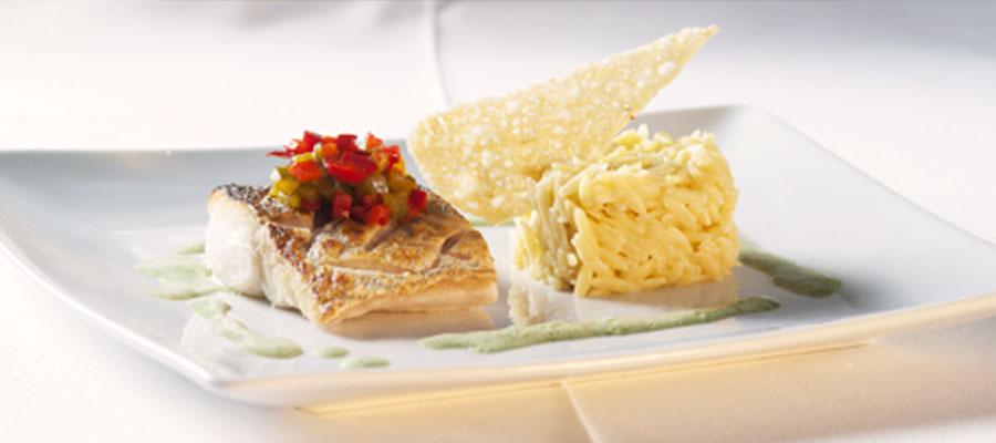 Merlu croustillant et son risotto